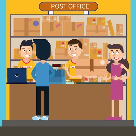 receiving: Post Office. Woman Receiving Parcel. Postal Service. Man Sending Letter. Vector illustration