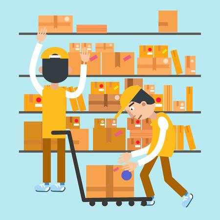 Postmen Laid Parcels. Post Office. Postal Storage. Vector illustration