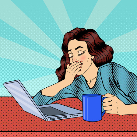 Tired Businesswoman. Exhausted Woman with Laptop. Pop Art. Vector illustration