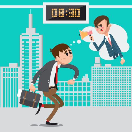 workday: Businessman Late for Work. Angry Boss Screaming in Megaphone. Man Hurry to Work. Vector illustration