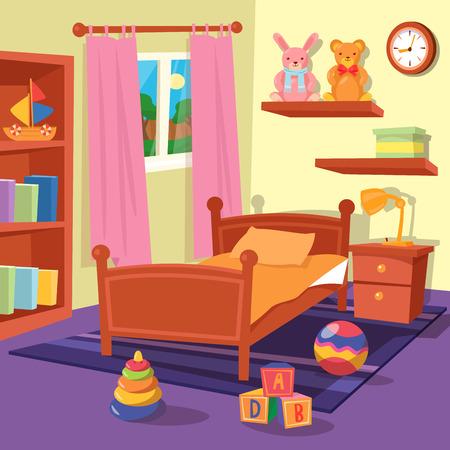 子供のベッドルームのインテリア。子供部屋。ベクトル図