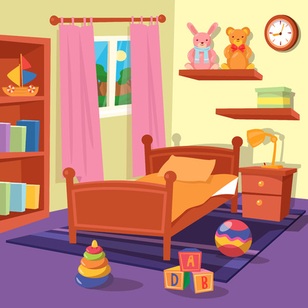 Children Bedroom Interior. Kinderkamer. vector illustratie Stockfoto - 57508381