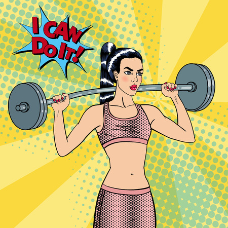 exercices: Woman with Barbell. Fit Girl. Healthy Lifestyle. Pop Art. Vector background