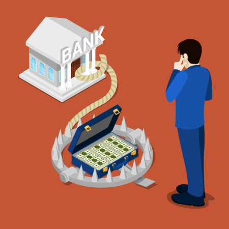 credit risk: Bank Trap. Isometric Bank. Bank Credit. Businessman Thinking About Credit. Vector illustration Illustration