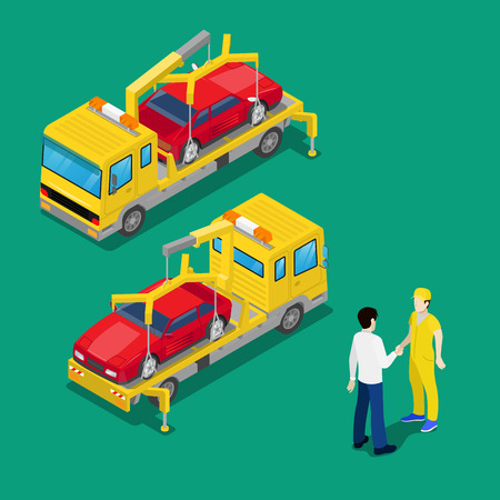 Isometric Car Assistance. Roadside Assistance Car. Tow Truck. Vector illustration Vector Illustration