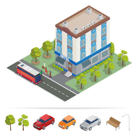 apartment buildings: Isometric Hotel. Hotel Building. Travel Industry. Vector illustration