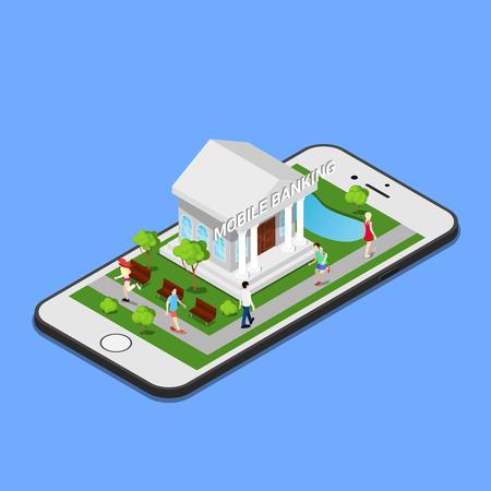 Isometrische Mobile Banking. Isometrische Bank. Mobile Payment. vector illustratie