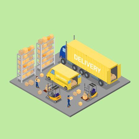warehouse cargo: Isometric Warehouse. Cargo Industry. Worker on Forklift. Cargo Loading. Vector Illustration