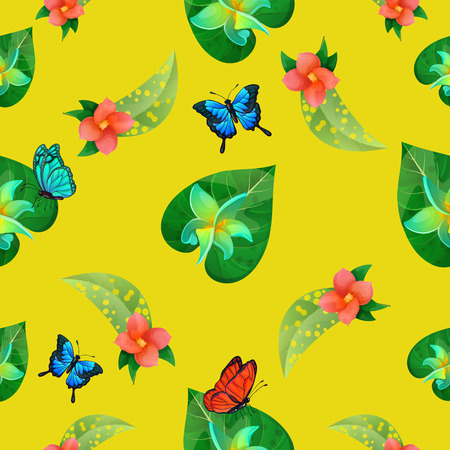 exotic butterflies: Tropical Flowers. Floral Background. Flowers Seamless Pattern. Exotic Butterflies. Vector illustration