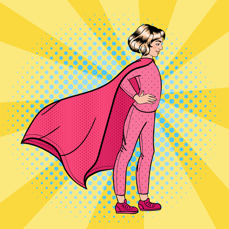 heroism: Super Girl. Girl Super Hero. Supergirl Standing on the Roof. Pop Art. Vector illustration