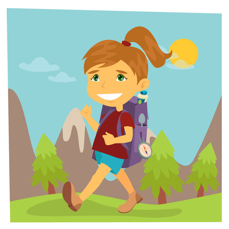 hike: Girl Scout. Girl in Hike. Girl with Backpack. Vector illustration