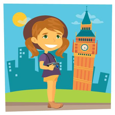 traveler: Tourist Girl. Girl Traveler. Girl with Camera. Time to Travel. Vector illustration