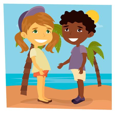 Girl on the Beach. Beach Vacation. Girl and Boy on the Sea. Vector illustration