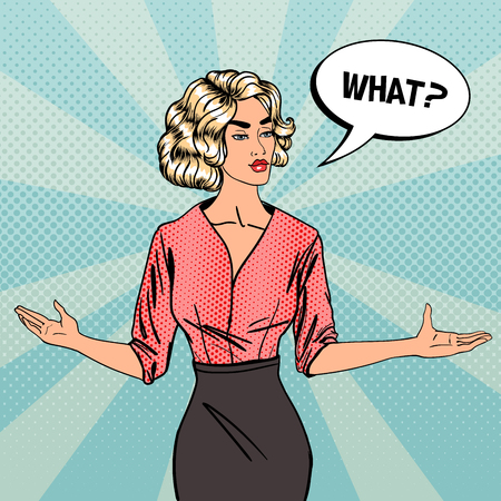 asking: Woman Asking What. Businesswoman with Asking Speech Bubble. Pop Art. Vector illustration