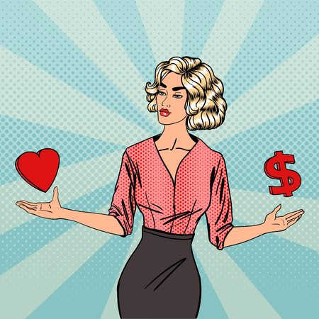 Woman Making a Choice Between Love and Money. Business Woman With Wide Open Arms. Pop Art. Vector illustration
