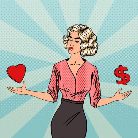 Femme Faire un choix entre l'amour et l'argent. Business Woman With Arms Wide Open. Pop Art. Vector illustration Banque d'images - 57508618