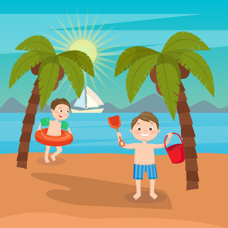 sand beach: Children Sea Vacation. Boys Playing on the Beach. Vector illustration