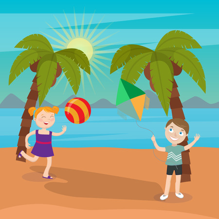 beach ball girl: Children Sea Vacation. Girl Playing Ball on the Beach. Boy Launches Kite. Vector illustration