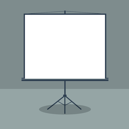 boardroom: Boardroom with Standing White Board. Business Presentation. Vector illustration
