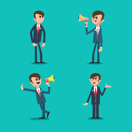 Angry Boss. Director Shouting in Megaphone. Business Man. Vector illustration