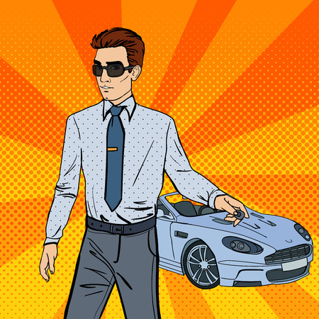 car driver: Successful Businessman. Man Holding a Car Key. Pop Art. Vector illustration