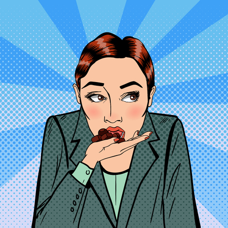 ビジネス女性食べるチョコレート。職場でのストレス。ポップアート。ベクトル図
