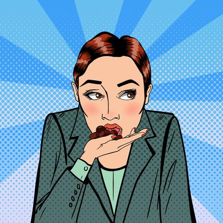 Mujer de negocios que comía el chocolate. El estrés en el trabajo. Arte pop. ilustración vectorial Foto de archivo - 57949927