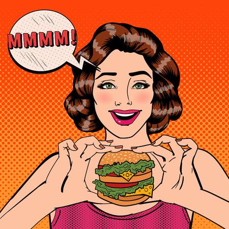 Mujer joven que come la hamburguesa. Mujer que sostiene la hamburguesa. Arte pop. ilustración vectorial