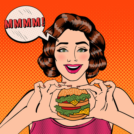 Young Woman Eating Hamburger. Woman Holding Burger. Pop Art. Vector illustration