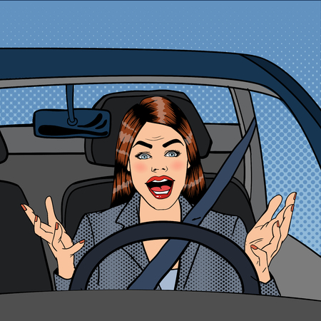 Angry Woman Driver. Aggressive Woman Driving Car. Pop Art. Vector illustration