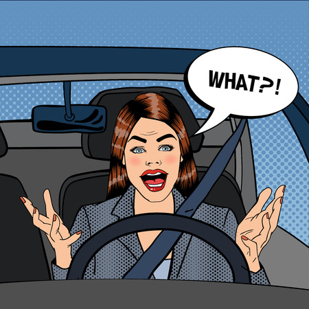 road rage: Angry Woman Driver. Aggressive Woman Driving Car. Pop Art. Vector illustration Illustration