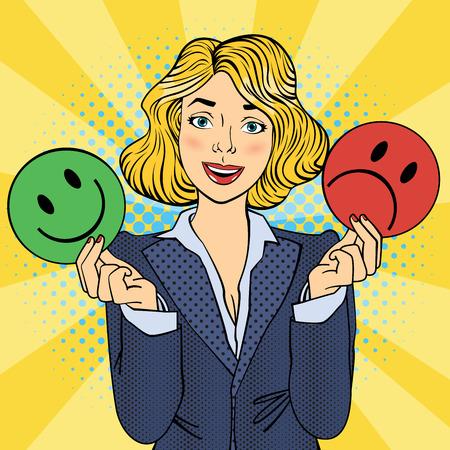 Woman Holdings Émoticônes dans ses mains. Pop Art. Illustration vectorielle Banque d'images - 57951037