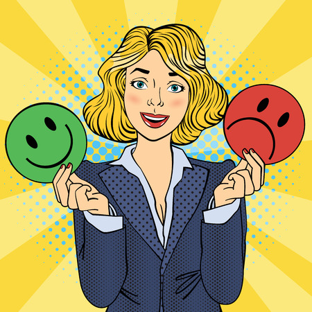 Woman Holdings Emoticons in her Hands. Pop Art. Vector illustration