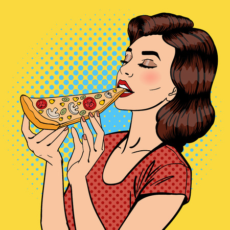Woman Eating Pizza. Young Woman Holding Big Piece of Pizza. Pop Art. Vector illustration Vettoriali