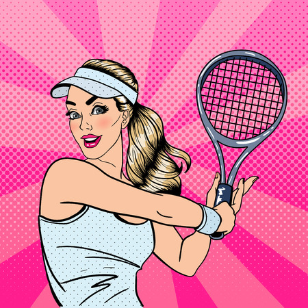 Woman Playing Tennis. Sportswoman with Racket. Healthy Lifestyle. Pop Art. Vector illustration  イラスト・ベクター素材
