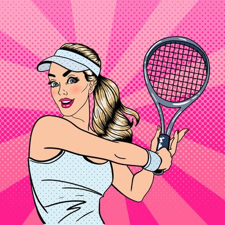 Woman Playing Tennis. Sportswoman with Racket. Healthy Lifestyle. Pop Art. Vector illustration 일러스트
