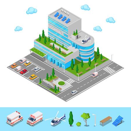 Isometrische Hospital. Medical Center modern gebouw. vector illustratie Stock Illustratie