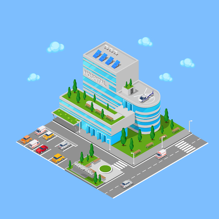car care center: Isometric Hospital. Medical Center Modern Building. Vector illustration