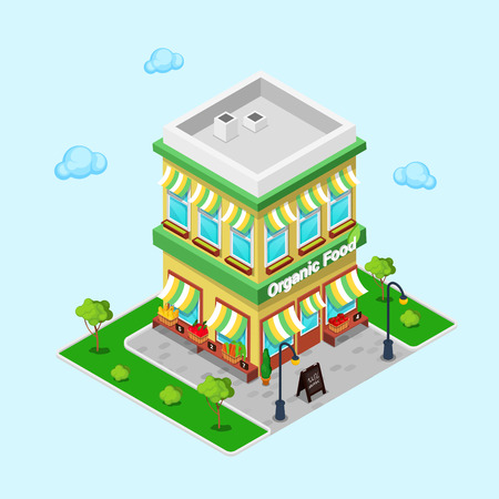 Organic Food Shop. Isometric Grocery. Healthy Eating. Vector illustration Ilustração
