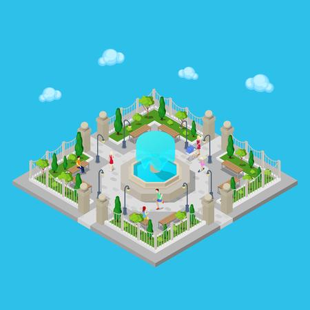 banc de parc: Isométrique Park. Parc de ville. Active People extérieur. Vector illustration