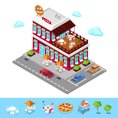 3d pizza: Isometric Pizzeria. Modern Restaurant with Parking Zone. People in Pizzeria. Vector illustration