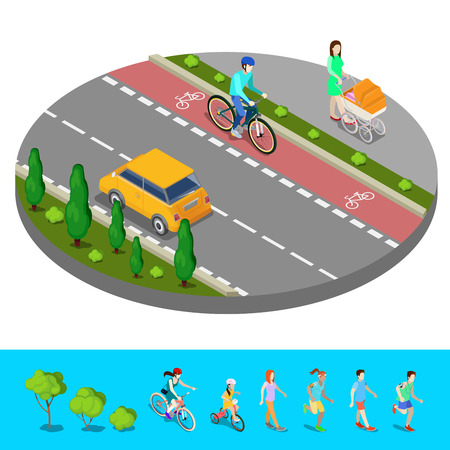 footpath: Isometric City. Bike Path with Bicyclist. Footpath with Mother and Baby Carriage. Vector illustration Illustration