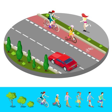 footpath: Isometric City. Bike Path with Bicyclist. Footpath with Running Woman. Vector illustration
