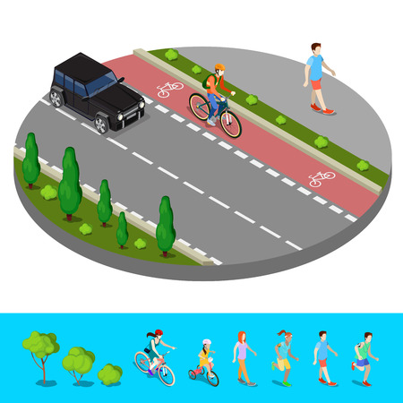 footpath: Isometric City. Bike Path with Bicyclist. Footpath with Walking Man. Vector illustration Illustration