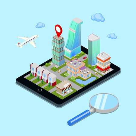 tourism industry: Isometric Mobile Navigation. Tourism Industry. Modern City on the Tablet Screen. Vector illustration