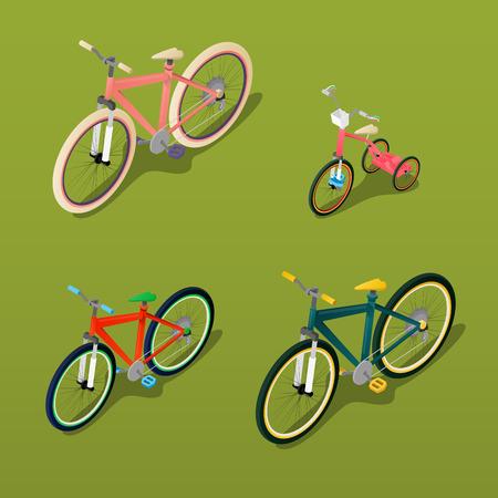 ni�os en bicicleta: Isom�trica de bicicletas. Ciudad de bicicletas, bicicletas para ni�os. ilustraci�n vectorial Vectores