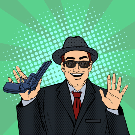 Mafioso avec Gun. Retro Mafia Man. Pop Art Mafia patron. Vector illustration Banque d'images - 57951127
