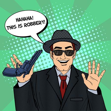 man  gun: Mafioso with Gun. Retro Mafia Man. Pop Art Mafia Boss. Vector illustration