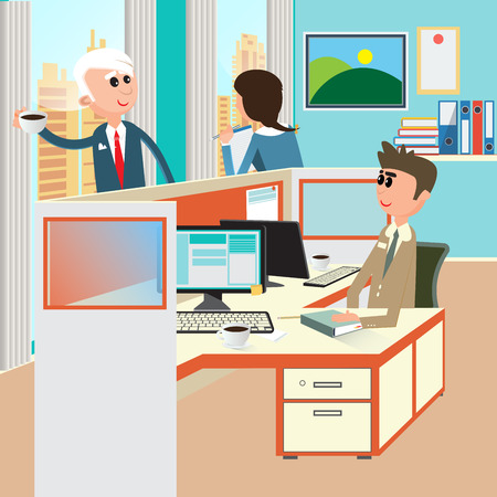 open space: Office Life. Office Interior with Workers. Open Space Office. Vector illustration Illustration