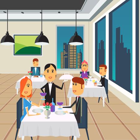 visitors area: People in Restaurant. Restaurant Interior. Happy Couple on Dinner. Vector illustration